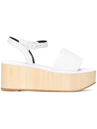 wood women sandals leather white shoes