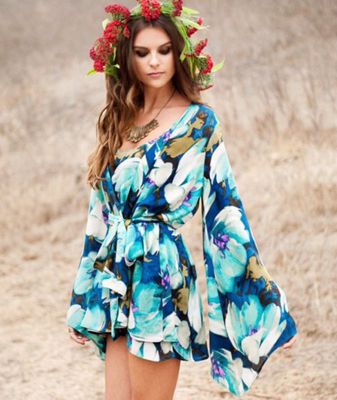 style beautiful summer outfits floral blue spring outfits kimono flowers flower crown elegant girly girly outfits tumblr dress romper longsleeved