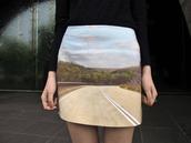 blue skirt,yellow skirt,green skirt,mini,facehunter,road,orange skirt,skirt,high waisted skirt,printed skirt,living in color print,photo print,print,photography print,mini skirt,clouds