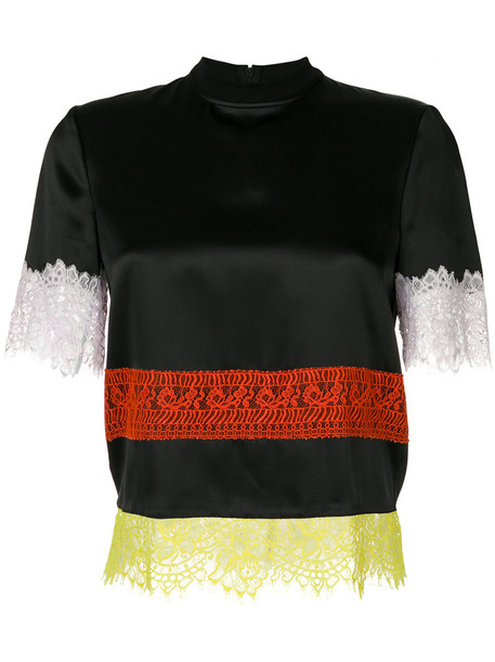 Givenchy - lace panel T-shirt - women - Silk/Cotton/Polyamide - 38, Black, Silk/Cotton/Polyamide