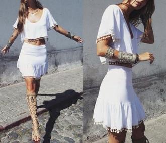 dress white boho skirt shorts shirt style two-piece romper