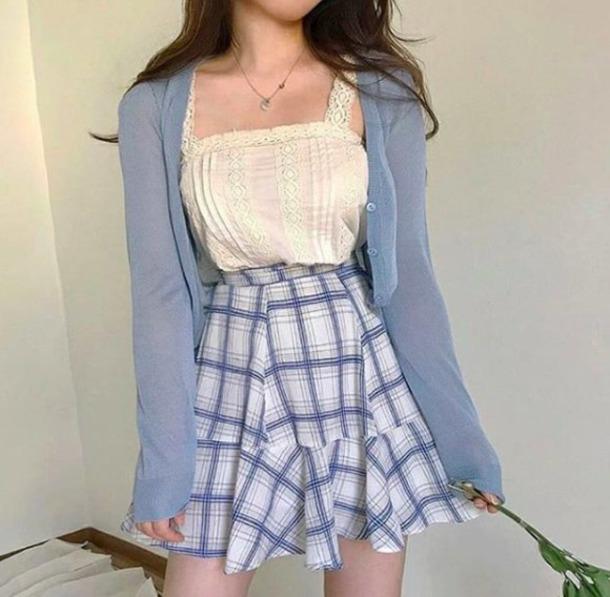 61cdc2e8ed top, korean fashion, plaid skirt, cute, cardigan, skirt, tank top ...