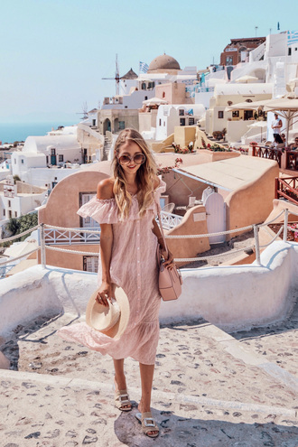 dress hat tumblr pink dress midi dress off the shoulder off the shoulder dress sandals flat sandals sun hat bag sunglasses