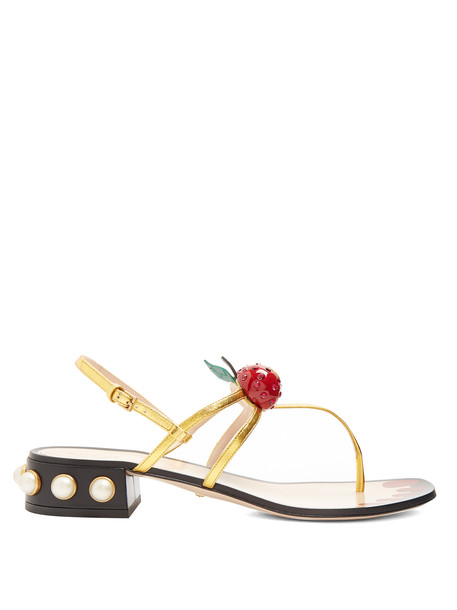 gucci cherry embellished sandals leather sandals leather gold shoes