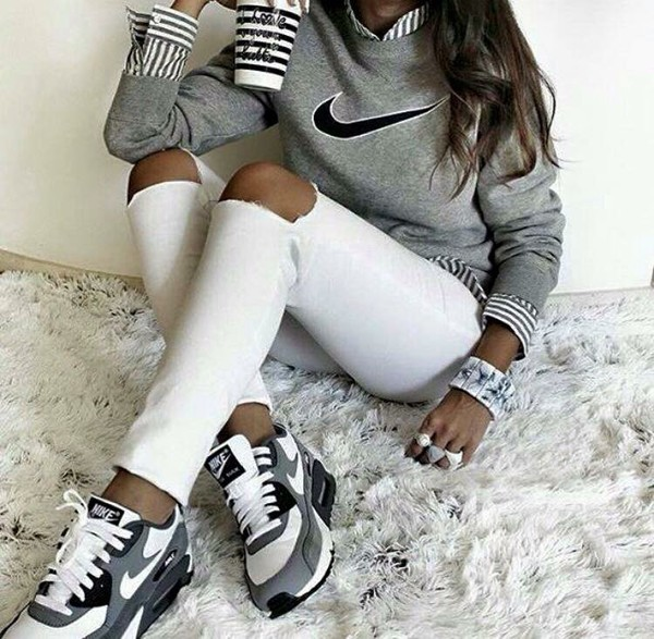 shoes nike air sweater blouse striped top nike sweater white jeans nike shoes nikesweater nike grey crewneck sweater crewneck air max low top sneakers grey sneakers nike sneakers grey sweater striped shirt marble back to school white ripped jeans black sneakers nike air max 90
