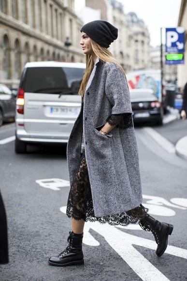 DrMartens blogger jewels black dress le fashion grey coat lace dress