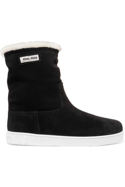 Miu Miu - Shearling-lined Logo-print Suede Boots - Black