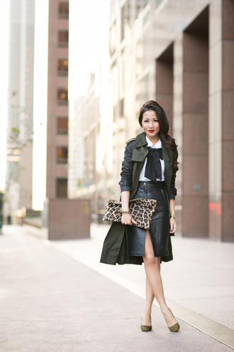 blogger khaki top bag jewels coat wendy's lookbook bows stilettos white shirt work outfit