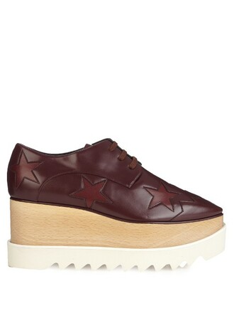 shoes platform shoes leather burgundy