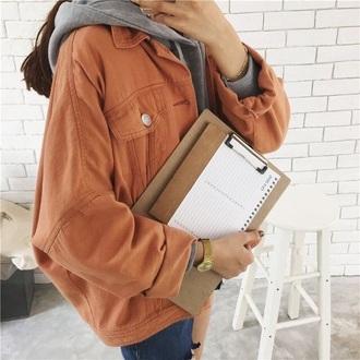 jacket orange denim jacket orange urban oversized jacket brand