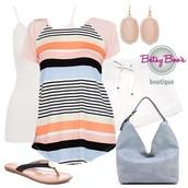 shirt,summer,ootd,women,fashion,style,stylish,beautiful,stripes,peach,jeans,shoes,tank top,earrings,jewelry