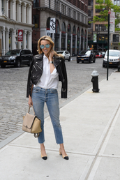 mind body swag,blogger,bag,sunglasses,leather jacket,button up,white blouse,nude bag