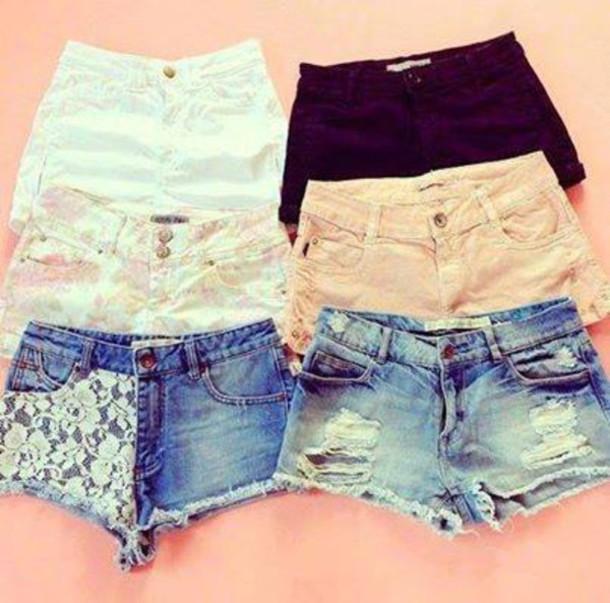 jeans short dechirer jeans fleur dentelle noir bleu rose beige fleurie 3a1d4cdd727