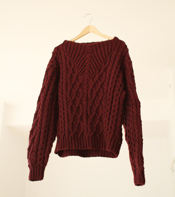 Hand Made Cable Knit Burgundy Sweater by PrettyColourful