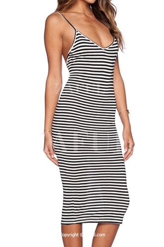 dress spaghetti strap striped dress stripes black and white bodycon zaful midi dress summer summer dress beach