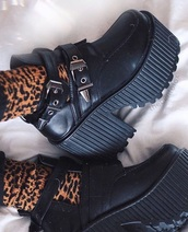 shoes,black,tumblr,platform shoes,chunky heel,chunky sole,cut out ankle boots