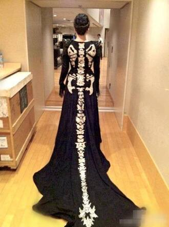 dress goth skeleton floor length dress