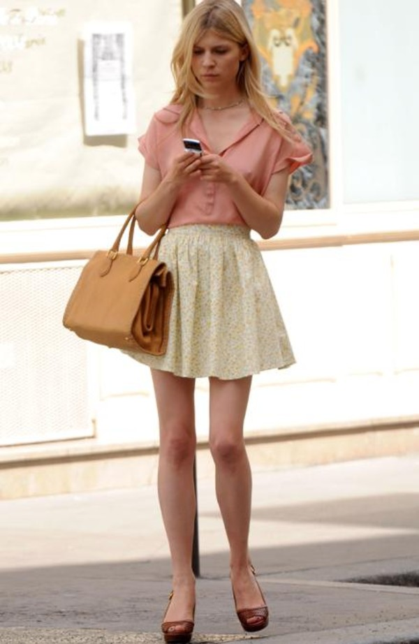 skirt cl clemence poesy pink blouse blouse bag vintage girly brown bag top