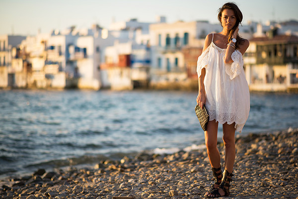 fashion vibe shoes bag white dress crochet lace boho hippie festival