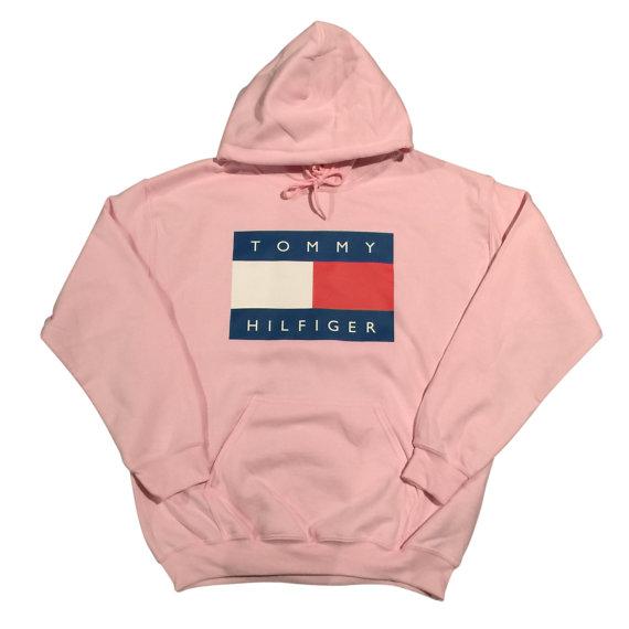 pink tommy hilfiger logo hoodie sweatshirt vintage 90s. Black Bedroom Furniture Sets. Home Design Ideas