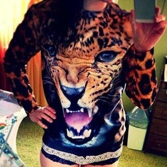 sweater leopard jumper animal face print
