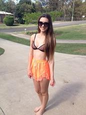 shorts,elasticated,lacy,lace trim,orange shorts,orange