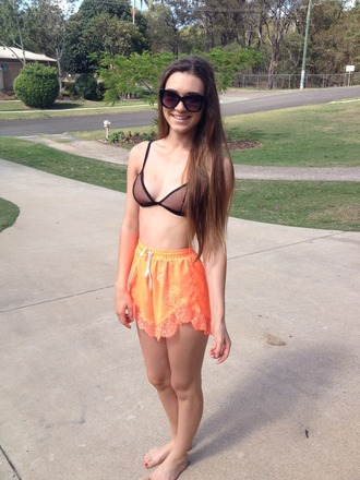 shorts lace trim elasticated lacy orange shorts orange