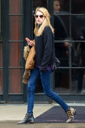 sweater,boots,emma roberts,fall outfits,jeans,shoes