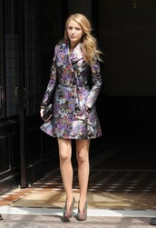 blake lively,coat,shoes,bag,marchesa