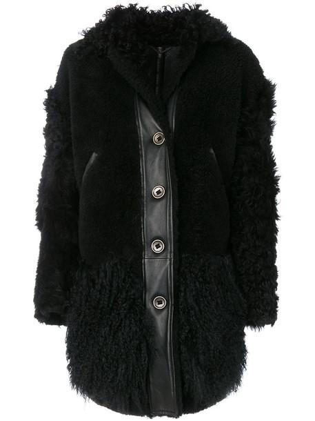 Kenzo coat fur women black