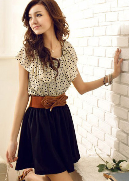 dress navy polka dots brown belt blue dress cream dress pretty girly black belted