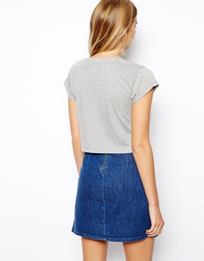 ASOS | ASOS Crop T-Shirt with Roll Sleeve at ASOS