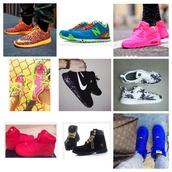 shoes,new balance,roshe runs,timberlands,nike air max 90,nikes,neon