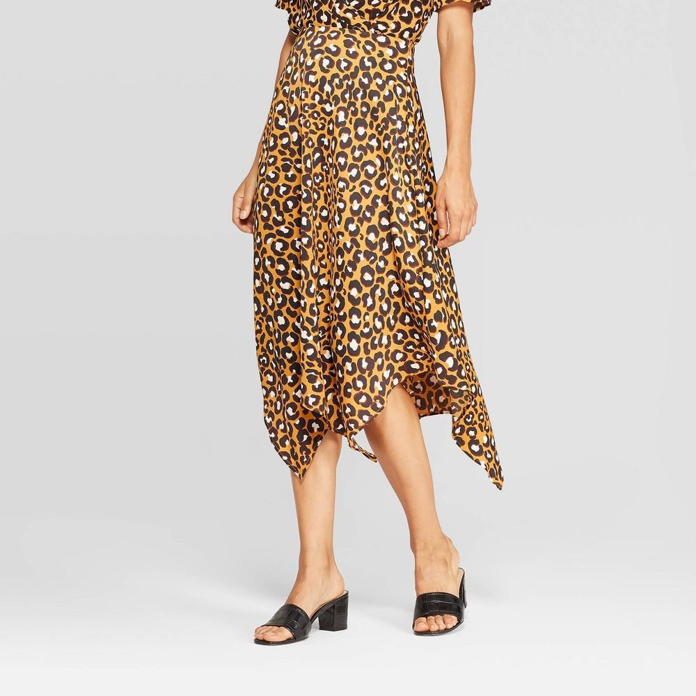 Women's leopard print mid-rise scarf hem midi skirt - who what wear™ yellow 6
