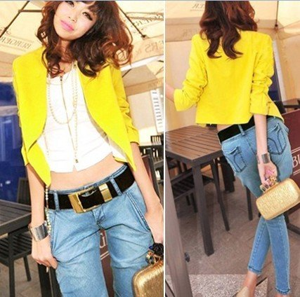 Fashion Women OL Casual Yellow Short Suit Jacket Blazer Ruched ...