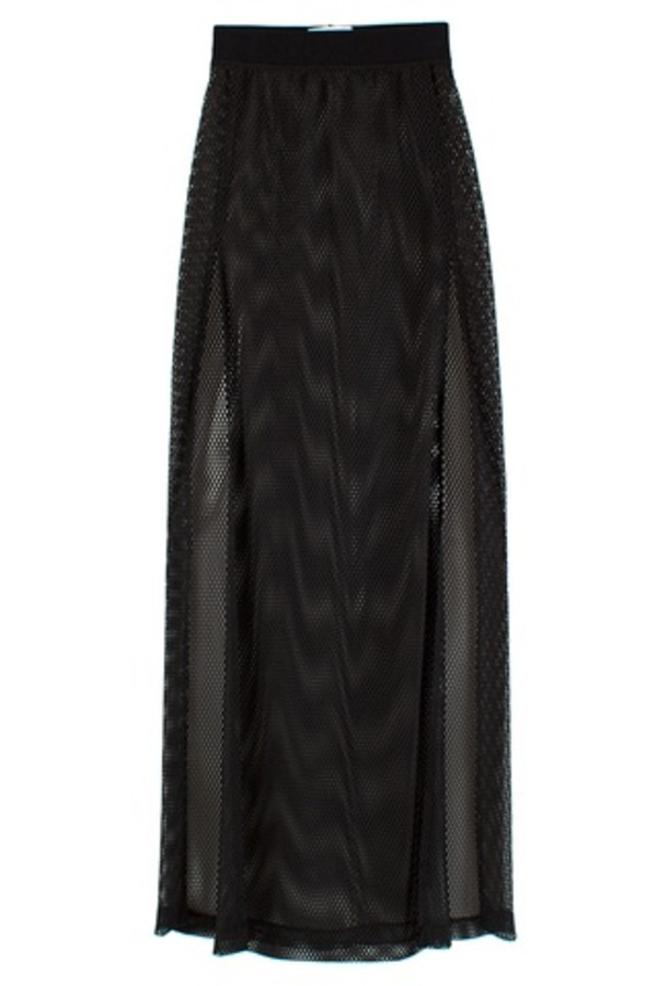 shirt mesh black long skirt split skirt split long skirt