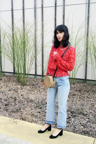 punky b blogger coat blouse crossbody bag round bag red top mid heel pumps spring outfits