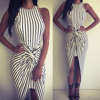 dress fashion stripes black and white asymmetrical elegant party trendy mns wrap dress girly girl girly wishlist striped dress bodycon dress bodycon cute cute dress black white