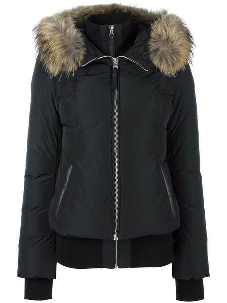 jacket puffer jacket fur zip women black