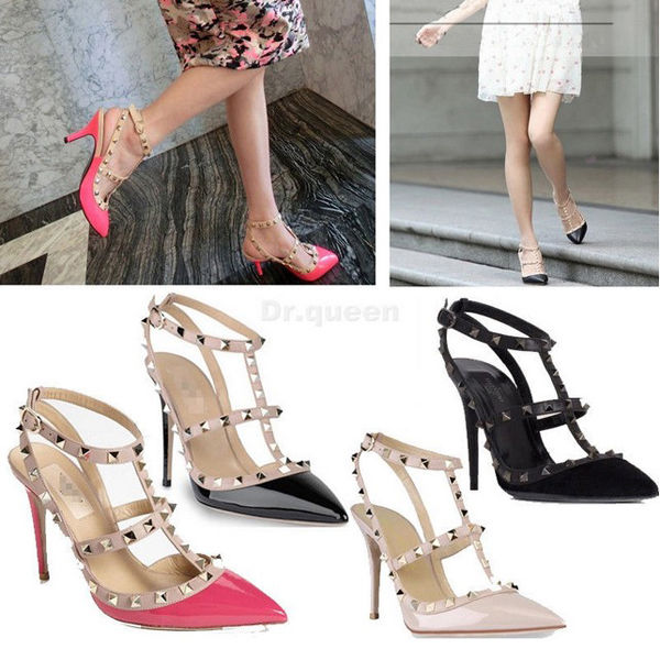 sexy women pointed toe studded spike pumps stiletto high heels t strap shoes ebay. Black Bedroom Furniture Sets. Home Design Ideas