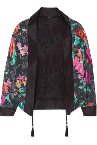 jacket chiffon floral print black