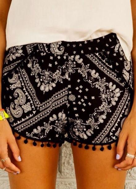 shorts black shorts pom pom shorts bandana print
