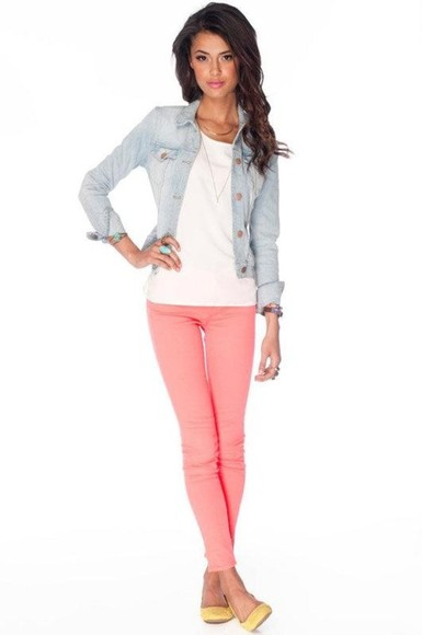 neon pink jacket bright colored skinny jeans jean jacket