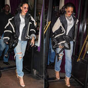 shoes,sandals,jeans,ripped jeans,boyfriend jeans,rihanna,jacket