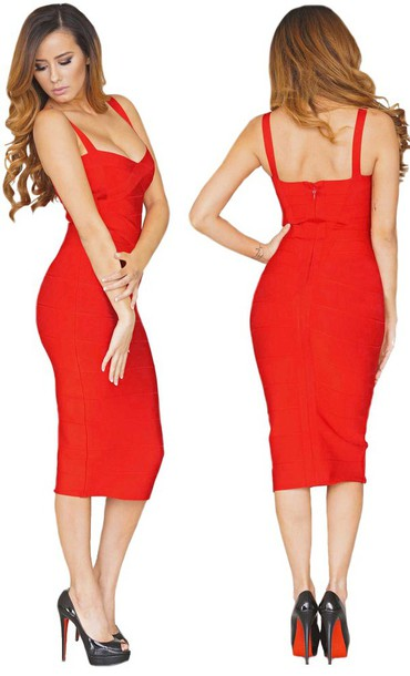 Dress: dream it wear it, red, red dress, red dress, bandage, midi ...