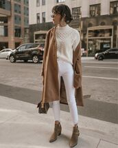 sweater,white sweater,ankle boots,louis vuitton bag,brown coat,white jeans,sunglasses,coat
