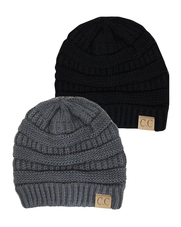 98e7759e554 Black Thick Slouchy Knit Oversized Beanie Cap Hat