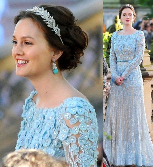dress leighton meester gossip girl blair waldorf blue dress elie saab dress elie saab fashion blue prom dresses earrings hair accessories make up