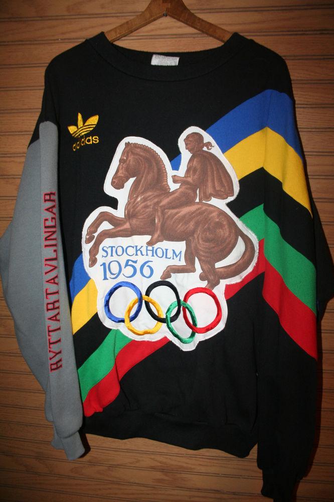 RARE Vtg Adidas Olympics 1952 1956 Helsinki Stockholm Sweater Mens Nice Size LRG | eBay