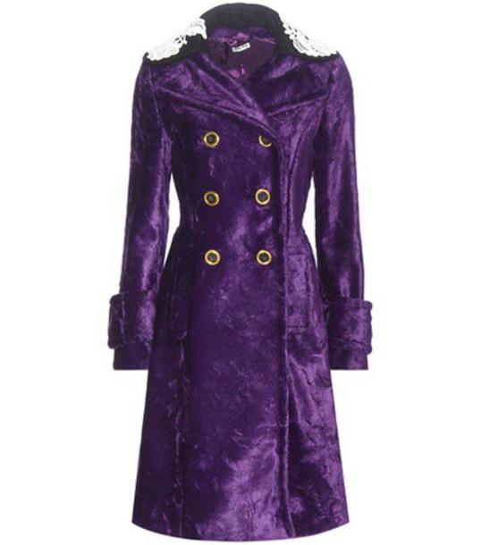 Miu Miu coat faux fur coat fur coat fur faux fur purple